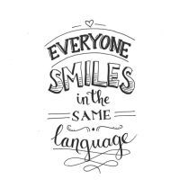Everyone smiles in the same language. Handlettering www. Hand Lettering Quotes, Brush Lettering, Calligraphy Quotes Doodles, Positive Quotes, Motivational Quotes, Inspirational Quotes, The Words, Cute Quotes, Smile Quotes