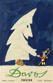 vintage ski poster. Herbert Leupin c.1958  DAVOS