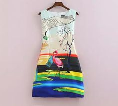 The New European And American Fashion Flamingo Plum Positioning Digital Printing Sleeveless Round Neck Dress