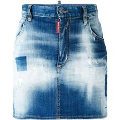 Dsquared2 light-wash denim skirt ($347) ❤ liked on Polyvore featuring skirts, mini skirts, blue, dsquared2, acid wash skirt, blue denim skirt, embellished mini skirt and blue mini skirt