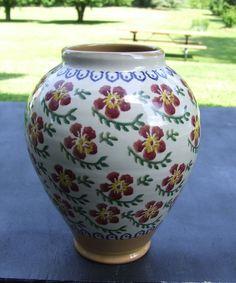 Vintage Nicholas Mosse Pottery Old Rose Pattern Vase