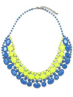 color  neon yellow + blue necklace