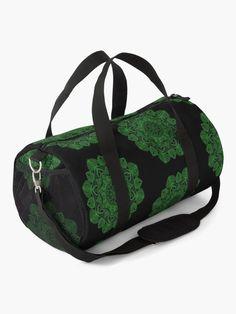 """Green Mandala Pattern - Just Let Go"" Duffle Bag by klyngiant   Redbubble Mandala Pattern, Work Travel, Baggage, Letting Go, Gym Bag, Shoulder Strap, Backpacks, Let It Be, Green"