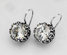 SHABLOOL ISRAEL Handcrafted Cubic Zirconia (CZ) Sterling Silver 925 Earrings