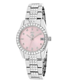 Loving this Silver & Baby Pink Magnifique Bracelet Watch on #zulily! #zulilyfinds