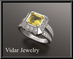 #vidarjewelryArtfire on Artfire                     #ring                     #Yellow #Sapphire #Diamond #Double #Halo #White #Gold #Engagement #Ring       Yellow Sapphire And Diamond Double Halo 14k White Gold Engagement Ring                                  http://www.seapai.com/product.aspx?PID=199250