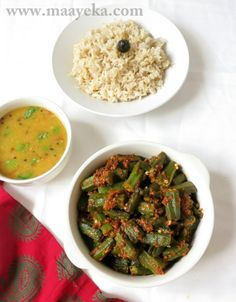 Achari Bhindi   Stir fried okra made with tomato and pickle spices.