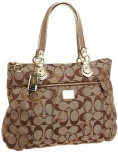 Coach Poppy Signature Glam Tote Khaki Gold Handbag $218