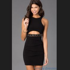 Short Sleeveless Black Dress With Cut Out
