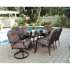 7 Piece Patio Dining Set, Seats 6. Enjoy the Outdoors with This Patio Furniture Dining Set. Impress Your Neighbors with the Design of This Patio Dining Set. Patio Dining Sets Make the Warm Months That Much More Enjoyable.