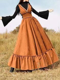 Vintage Dresses Casual V neck Sleeveless Gathered Dresses Plus Size Long Sleeve Vintage Dresses, Vintage Skirt, Dresses With Sleeves, Sleeve Dresses, Classy Outfits, Vintage Outfits, Vintage Fashion, Skirt Outfits, Dress Skirt