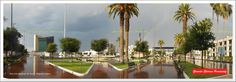 Main Square and small square Juarez after rain and rainbow. On the left, the municipal presidency, the center of the photo, the Isauro Martinez Theater; Follow the monument to Benito Juarez and to the right the Federal Palace. (Plaza Mayor y Plazuela Juarez después de la lluvia y arcoiris. A la izquierda, la Presidencia Municipal, al centro de la foto, el Teatro Isauro Martinez; sigue el monumento a Benito Juarez y a la derecha el Palacio Federal.