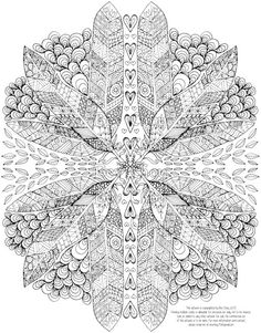 Adult Coloring Page - Feathers and Hearts by BevChoyArt on Etsy