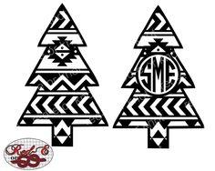 Aztec Christmas Tree Monogram by RedEorKnot on Etsy https://www.etsy.com/listing/253774536/aztec-christmas-tree-monogram