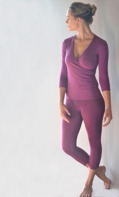 Shakti Shanti berry three quarter yoga pants PT022 and cross over three quarter sleeve top TT004