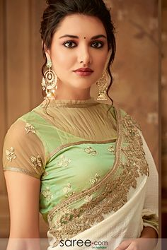 Off White Chiffon Saree with Designer Blouse Blouse Back Neck Designs, Netted Blouse Designs, Best Blouse Designs, High Neck Blouse, Chiffon Saree, Beautiful Girl Indian, Most Beautiful Indian Actress, Lehenga Sari, Stylish Blouse Design