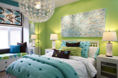 Modern Teen Bedrom Ideas in Green Wall Color Scheme and Window Bench with Functional Storage