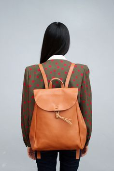 Vintage Style Hand Made Leather Backpack via The White Pepper