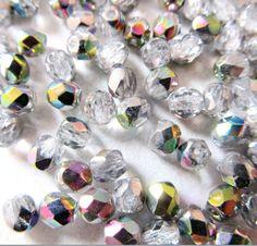 Lot de 50 perles de Bohème à facettes cristal vitrail - 4 mm - réf RWF14