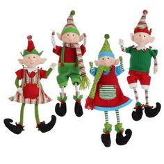 """These are adorable. RAZ Sitting Posable Elf Set of 4  4 Asst Multicolored Made of Polyester Measures 16"""" Not Intended for Children - Not a toy For Decorative Use Only Artist: Mark Davies RAZ Exclusive  Additional"""