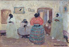"Pedro Figari (Montevideo, 1861 - Montevideo, 1938) ""Las gracias de Eusebita"" ?, Huile sur carton, H. 35 cm ; L. 50 cm © pedrofigari.com"