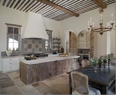 neutral kitchen from Cote de Texas: A Tuscan Dream in Mississippi