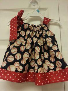 Baseball pillowcase dress by Itsewfun Creations!