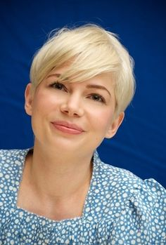 michelle williams, long swept bang and Pixie Cropped