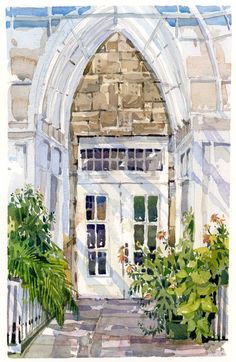 Conservatory Interior - watercolor by Shrari Blaukropf : from The Sketch Book Watercolor Painting Techniques, Watercolor Journal, Watercolor Sketch, Watercolour Painting, Watercolours, Watercolor Architecture, Watercolor Landscape, Architecture Sketches, Urban Sketching