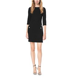 This sleek shift dress puts the mod in modern. Expertly tailored in stretch bouclé-crepe, this retro-inspired silhouette showcases a boat neck, three quarter-length sleeves and subtle zipper detailing. Pair it with towering sandals, from office presentations to dinner parties.