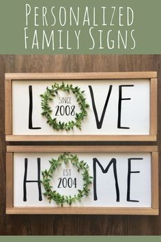 Personalized Family signs! Love sign, Home sign, Housewarming gift idea, Wedding shower gift idea, Bridal shower gift idea, Home decor, Farmhouse decor, farmhouse wood sign, Rustic decor, Rustic sign, Entryway decor, Living room sign #ad