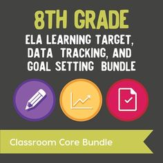 Learning Target Posters, Data Tracking, & Goal Setting Bundle for  All 8th Grade ELA Standards  Based on the research of Marzano, this bundle provides everything you need for posting and tracking your learning targets!  This bundle combines our Learning Target Posters and ELA Standards Chart for 8th Grade and Data Tracking and Goal Setting for 8th Grade ELA.