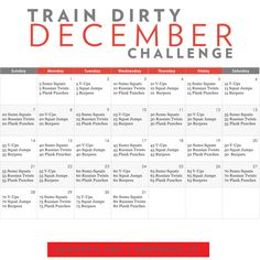 Train Dirty December Monthly Challenge - - Put down the forks and get dirty for the month of December! Here is a month long holiday challenge to keep you ahead of the game and accountable all throughout this cold winter month. Month Workout Challenge, December Challenge, Monthly Challenge, 30 Day Challenge, Challenge Accepted, 30 Day Fitness, Fitness Tips, Fitness Motivation, Fitness Challenges