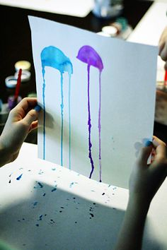 Jellyfish painting project: paint 1/2 circle make bottom wetter stand paper up and let drip