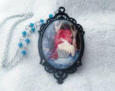 Gothic Dark mermaid cameo necklace