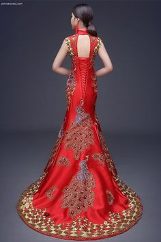 Chinese Wedding Sequin Lace Phoenix Qipao Gown - YannyExpress  - 1 Cheongsam Wedding, Cheongsam Dress, Colored Wedding Dresses, Bridal Dresses, Prom Dresses, Chinese Wedding Dresses, Sequin Wedding, Wedding Gowns, Chinese Gown