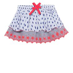 Jean Bourget White Red and Blue Layered Skirt Girls