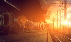 sunset railroard. waiting for the train never looked more beautiful...