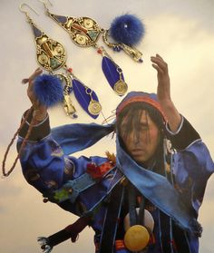 BOUCLES D'OREILLES NOMADE MONGOL - LES PLUMES AU VENT - ITINERANCE EN MONGOLIE - COLLECTION DANS LES STEPPES DE KAZAKHSTAN : Boucles d'oreille par fujigirls