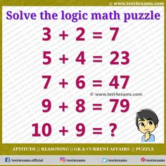 Challenging Math Puzzle is one type of Brain shaking Game. Puzzles Logic gives students challenges that encourage find-solution and Logical thinking. Math Logic Puzzles, Brain Teaser Puzzles, Number Puzzles, Logic Questions, Play Quiz, Math Test, Picture Puzzles, Online Tests, Problem Solving Skills