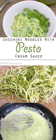 Zucchini Noodles with Pesto Cream Sauce TheGarlicDiaries.com