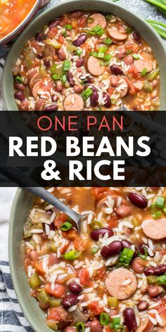Easy Red Beans & Rice Andouille sausage, beans and riceYou can find Sausage recipes and more on our website.Easy Red Beans & Rice Andouille sausage, beans and rice Red Beans And Rice Recipe Easy, Easy Rice Recipes, Bean Recipes, Soup Recipes, Healthy Recipes, Recipes With Red Rice, Red Beans And Rice Recipe With Sausage, Pinto Beans And Rice, Potato Recipes
