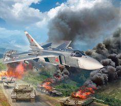 Un Sukhoi Su-24 ataca con bombas una formación de tanques, probablemente en Osetia del Sur. Más en www.elgrancapitan.org/foro