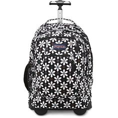 "Jansport Driver 8 Rolling Backpack - Black Floral Geo. Padded sleeve fits 15"" laptop Tuck-away shoulder straps for converting to a backpack. Front utility pocket with organizer. Retractable two-stage handle. 80 mm inline skate wheels. Side water bottle pocket. Padded grab handle and front stash pocket. Love this!"