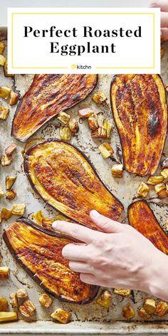 How To Roast Eggplant - eggplant recipes Veggie Side Dishes, Side Dish Recipes, Veggie Recipes, Vegetable Side Dishes, Food Dishes, Whole Food Recipes, Diet Recipes, Vegetarian Recipes, Cooking Recipes