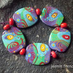 jasmin french ' andromeda ' lampwork focal beads glass art se...More