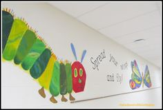 School Wall Mural of Very Hungry Caterpillar Characters (via RainbowsWithinReach Eric Carle RoundUP)