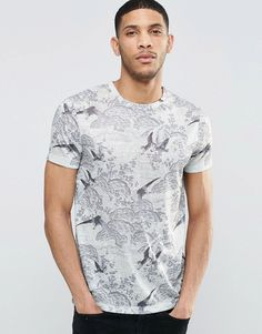 Image 1 ofASOS T-Shirt With Floral And Bird Print In Linen Look Fabric In Ecru