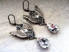 Gothic Earrings Wing Earrings Crystal Drop Gothic Jewelry by ApplebiteJewelry Gothic Earrings, Gothic Jewelry, Crystal Earrings, Silver Earrings, Drop Earrings, Angel Wing Earrings, Silver Wings, Crystal Drop, Etsy Earrings