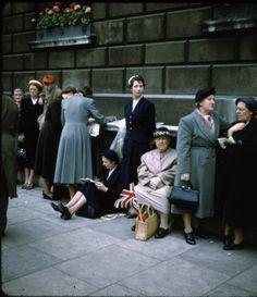 Parade street scene, on Kodachrome, London, England, United Kingdom, 1960, photograph by Stanley Marcus.